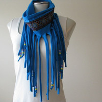 Boho Fringe Scarf with beads, Turquoise Jersey Infinity scarf with floral trim and purple, blue and yellow beads