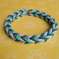 Grey, Blue, and White Rubber Band Bracelet - Rainbow Loom