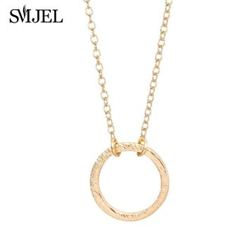 SMJEL 2017 New Forever Love Karma Brushed Circle Pendants&Necklaces for Women Minimal Charm Wedding Gifts  N083