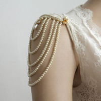 Shoulder Epaulettes Bridal Jewelry Accessories Ivory Pearls And Rhinestones, 1920 Inspiration Shoulders Necklace Wedding Jewelry, OOAK