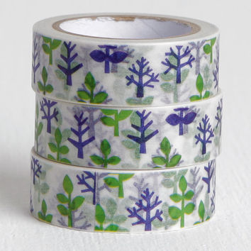 Blue and Green Tree Washi Tape, 15mm
