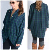 Thinking Out Lounge Green Plaid Flannel High Low Top