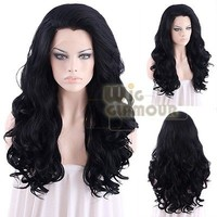 "Long Curly Wavy 24"" Jet Black Lace Front Wig Heat Resistant"