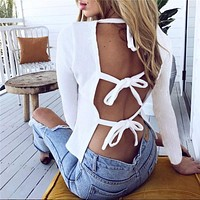 Women's Fashion Hot Sale Autumn Sexy Backless Round-neck Long Sleeve T-shirts [11869048015]
