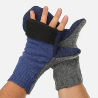 Men's Convertible Mittens in Blue and Grey - Recycled Wool - Fleece Lined