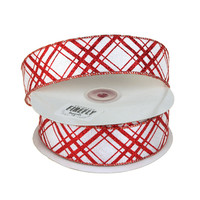 Candy Cane Holiday Christmas Ribbon Wired Edge, 1-1/2-Inch, 20 Yards, Red/White