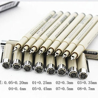 Set of 8PCS KNOW Black Pin Technical Drawing Fineliner Marker Pens 0.05mm - 0.8mm