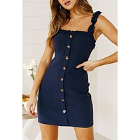 Summer Hot Sale Women Sexy Button Lace-Up Backless Sleeveless Sling Dress Navy Blue