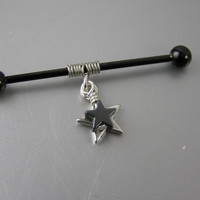 """Hematite & Silver Stars Coiled on Anodized Industrial Bar Barbell Piercing 14G gauge 1-1/2"""" 38mm 1-3/8"""" 35mm Earring Jewelry Goth Punk"""