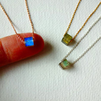 Handmade Labradorite and 14k Gold Fill or 925 Sterling Silver Chain Delicate Deconstructed Layering Pendant Necklace; Square Stone Pendant