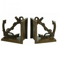 Antique Brass Anchor Bookends 5""