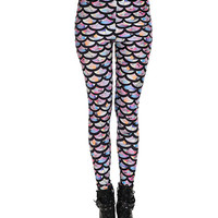 Multi Color Fish Scale Print Leggings