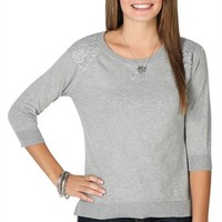 Three Quarter Sleeve Baseball Sweater with Matching Lace