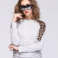 Fashion Women Batwing Dolman Long Sleeve Leopard Print Round Neck Knitted Loose Casual Pullover Jumper Tops Shirt Blouse Mini Dress