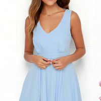 Heaven's Adore Light Blue Backless Dress
