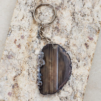 Agate Slab Key Chains