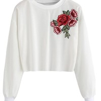 Embroidery Long Sleeve Pullover Crop Top