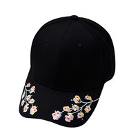 Cotton Baseball Hats for Women Plum Blossom Embroidery Flower Hip hop Casual Snapback Caps Gifts