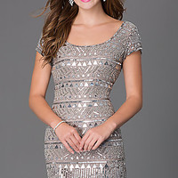 Short Sleeve Silver Gray Sequin Homecoming Dress