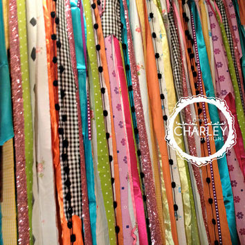 Mad Hatter - Fabric Garland 4' x 6' Backdrop with Sparkle Sequin - Tea Party, - Photo Prop, Birthday Party, Curtain
