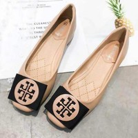"""""""Tory Burch"""" Trending Women Sexy Bowknot Metal Buckle High Heels Shoes Single Shoes Apricot I13721-1"""