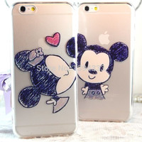 New Minnie Mickey Mouse Cartoon couple kissing TPU Case Back Cover For iphone 5 5S 6 4.7 plus 5.5 inch Cell phone For Apple 4 4s