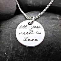 All you need is love - Song Lyric Necklace
