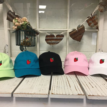 New Strawberry Embroidered Baseball Cap Low Profile Curved Bill - Multiple Colors Gift for Her