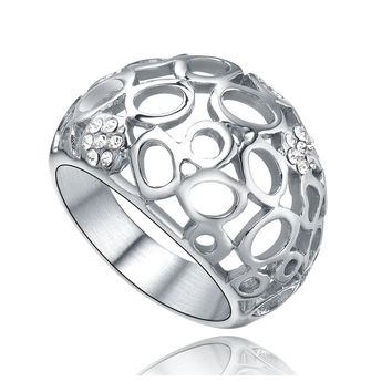 Stainless Steel Oval Filigree W. Cubic Zirconia Ring