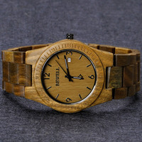 Men's Wooden Watch Natural Sandalwood Wrist Watch with Calendar Function Birthday Gift Fathers Day Gift