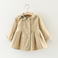 2017 new spring autumn baby girls wind coat fashion cat collar baby jacket for outer wear clothes children girl newborn coat