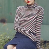 Red-Blue Striped High Neck Top