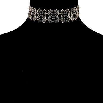 """16"""" burnished silver choker necklace 1"""" wide"""