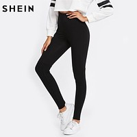 SHEIN Cut and Sew Rib Knit Leggings Casual Workout Clothes for Women Autumn Solid Black Activewear Women's Leggings