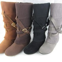 On Sale Hot Deal Knee-length Height Increase Korean Stylish Boots [120847630361]