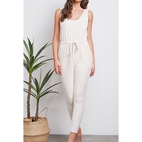 P&M Stretch Ribbed Cream Jumpsuit