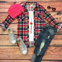 Penny Plaid Flannel Top: Pink/Blues