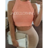 Maria Coral Knit Crop Top - Jaide Clothing