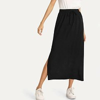 High Waist Belted Split Hem Midi Skirt Split Side Column Skirt