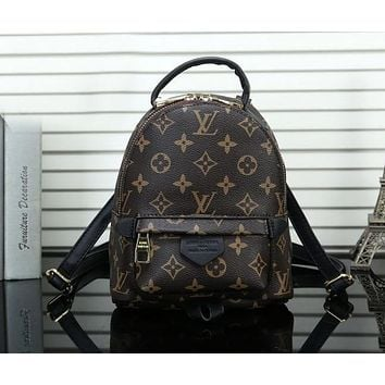 "LV Hot Sale ""Louis Vuitton"" Popular Woman Leather Shoulder Bag Bookbag Mini Backpack Coffee Monogram"