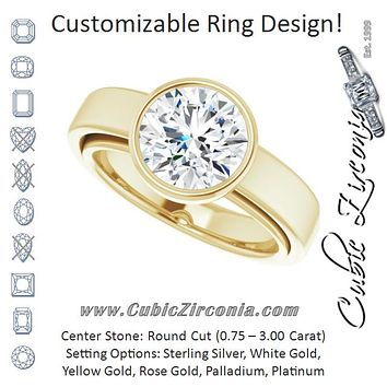 Cubic Zirconia Engagement Ring- The Dunyasha (Customizable Cathedral-Bezel Round Cut Solitaire with Wide Band)