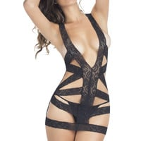 Snappy Lace Babydoll and G-String