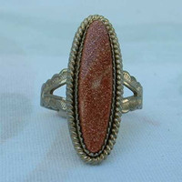 Sterling Silver Sunstone Ring Size 6.5 Vintage Jewelry