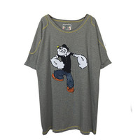 Popeye Printed Stitched Loose Round Neck T-Shirt