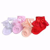 Bow Lace Baby Socks born Cotton Baby Girls Sock Cute Toddler Socks Princess Style Baby Accessories
