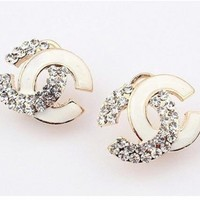 Angel Stars Gold Plated Australian Crystals and White Enamel Double Cc C Stud Earrings ~~HOT~~:Amazon:Jewelry