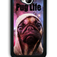 HTC One M7 Case - Hard (PC) Cover with Funny Pug Life On Galaxy Plastic case Design