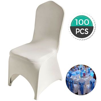 VEVOR 100PCS Ivory Chair Covers Polyester Spandex Chair Cover Stretch Slipcovers for Party Dining Banquet Wedding Chair