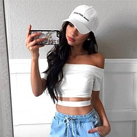 Fashion Off Shoulder Short Sleeve Hollow Solid Color T-shirt Crop Tops