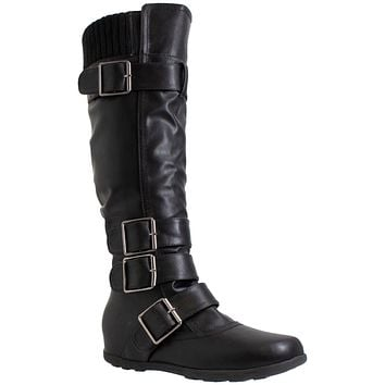 Generation Y Women's Knee High Boots Strappy Adjustable Buckle Combat Black Leather